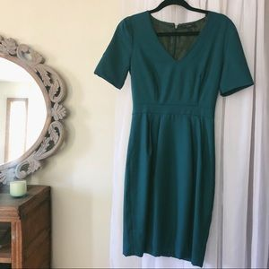 J. Crew Emerald Wool Dress with Sleeves